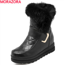 2017 Women snow boots high quality soft leather Height Increasing rabbit fur keep warm winter ankle boots platform sweet shoes