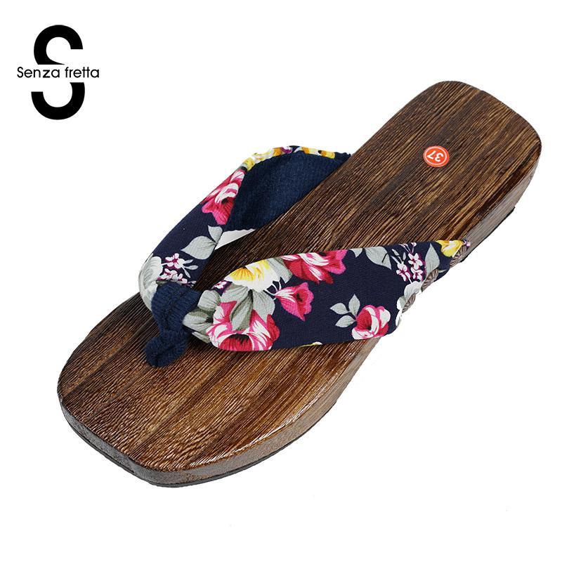 Senza Fretta Summer Women Shoes Wooden Sandals Fashion Outdoor Cork Slippers Leisure Shoes Women Floral Sandals Sandals Women фоторамка senza 20х25 см хром 956444