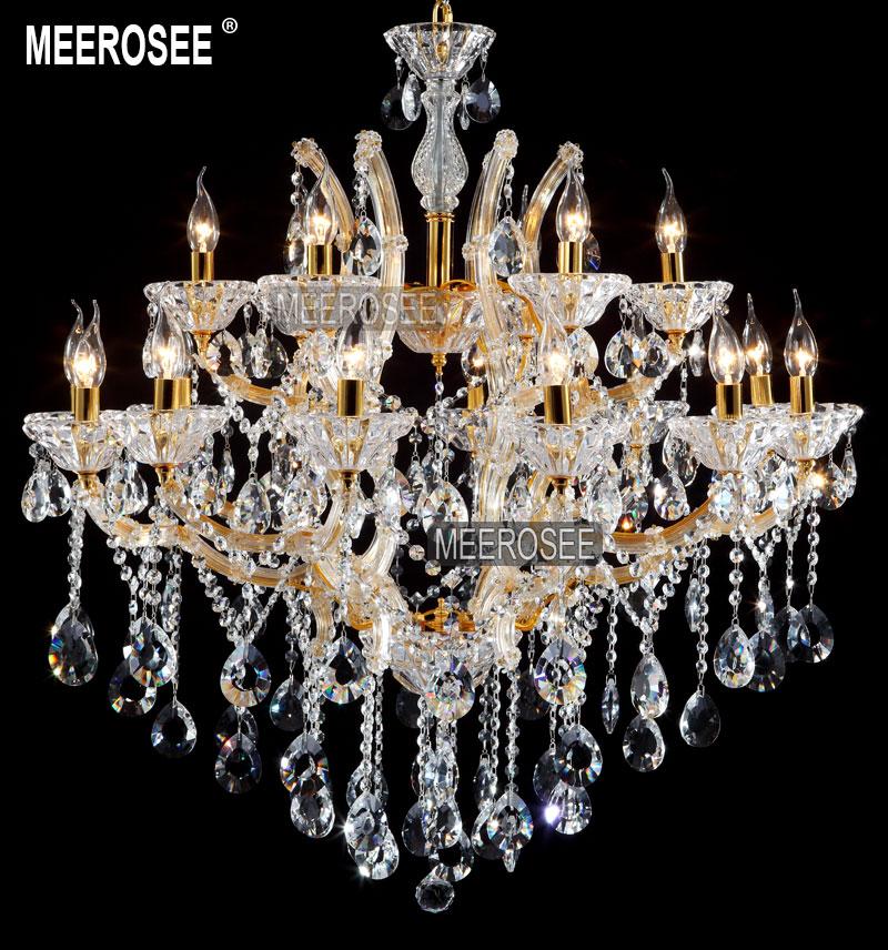 18 lampes en cristal clair lustre luminaire hôtel lustres lustre - Éclairage intérieur