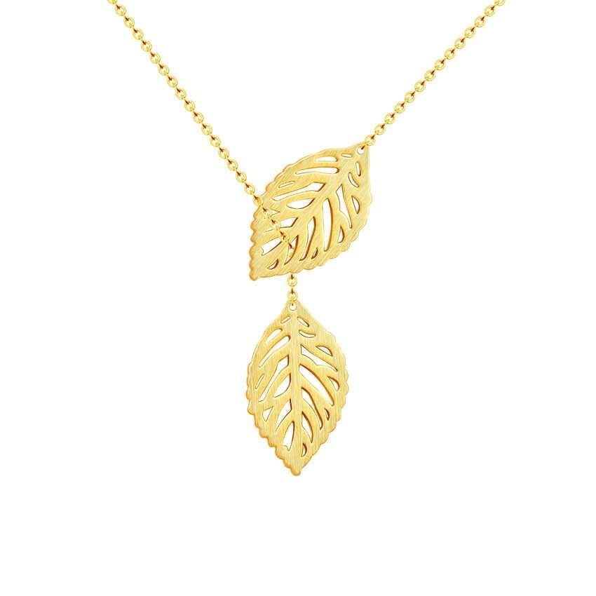 Bff هدية الذهب اللون ورقة مزدوجة قلادة قلادة المرأة مجوهرات أنيقة الفولاذ المقاوم للصدأ سلسلة قصيرة تصل إلى عظمة الترقوة مصنع Collares ارغوس 2018