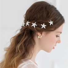 1pc Korean Style Bridal Tiara Rhinestone Starfish Hairpin Bride Hair Accessories U-clip