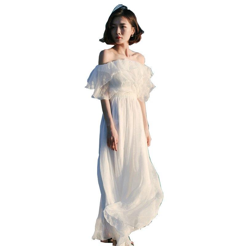 Robe d'été 2018 coréenne dames hors épaule plage robe longue en mousseline de soie robes blanches élégant bohème Vestido mode chaud ZL052