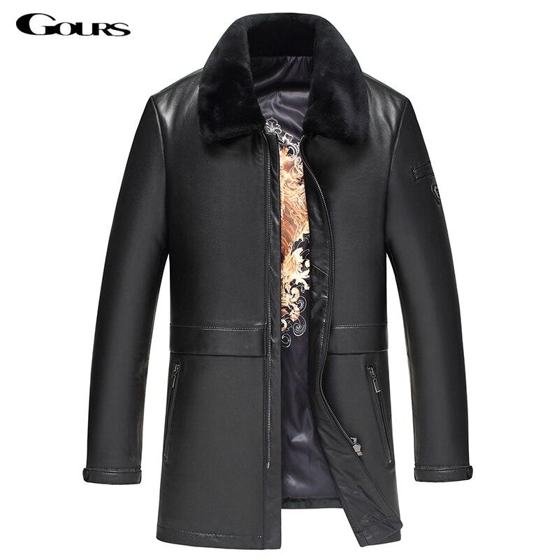 Gours Hiver Véritable En Cuir Vestes pour Hommes Marque De Mode Noir Long En Peau de Mouton Manteaux avec Col En Laine Nouveau 4XL HS10023