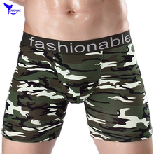 CHENKE Brand 2017 New 100% Cotton Camouflage Boxer Shorts Men Long Leg Underwear Soft Athletics Underpants Male Panties Cuecas