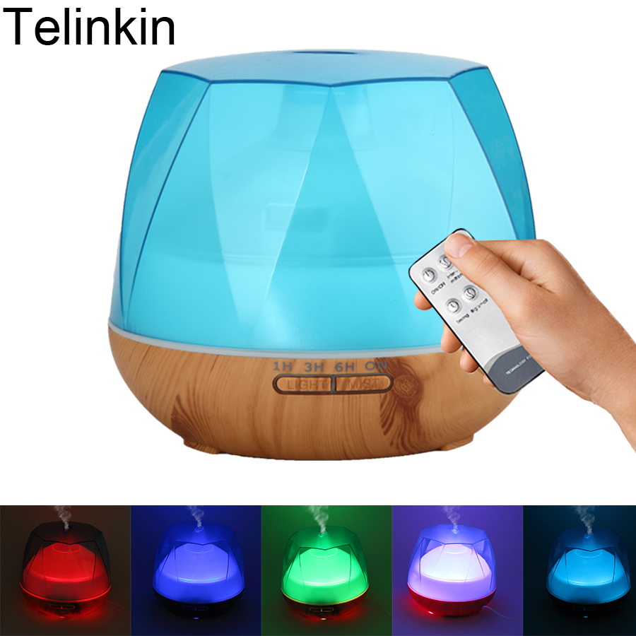 550ml Remote Control 7 color LED lamps Air Aroma Electric Humidifier for home Ultrasonic Essential oil diffuser mist maker 550ml aroma diffuser air electric humidifier for home with remote control essential oils for aromatherapy ultrasonic mist maker