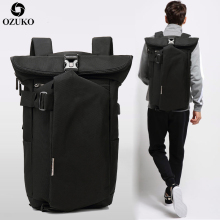 OZUKO Men's Backpack Black USB Charging Anti-Theft Laptop Backpack Travel Mochila Fashion Male Large Capacity College School Bag