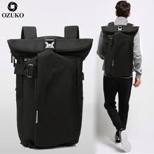 OZUKO Men's Backpack Black USB Charging Anti-Theft Laptop Backpack Travel Mochila Fashion Male Large