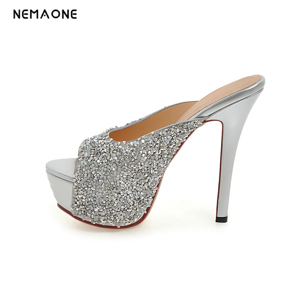 NEMAONE 2018 hot sale new arrive women high heels slipper elegant bowkont summer shoes bling ladies platform shoes memunia new arrive hot sale genuine