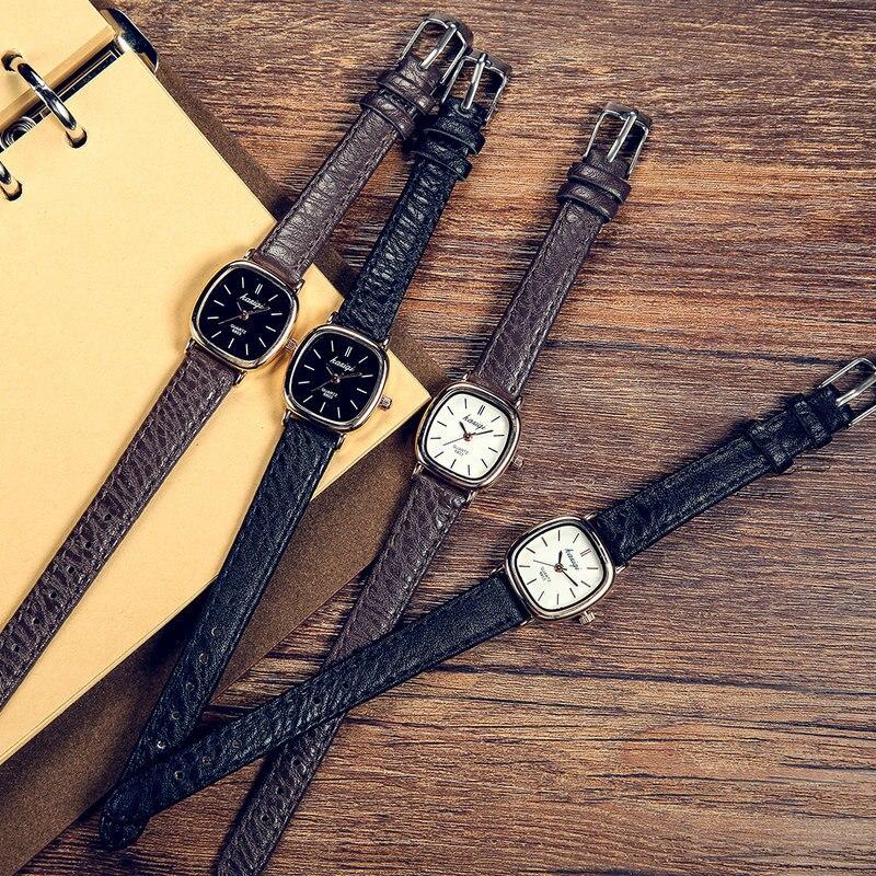 Top Brand Women Vintage Leather Watch Ladies Simple Quartz Wrist Watches For Small Wrist Elegant Relogios Leather Strap Clock