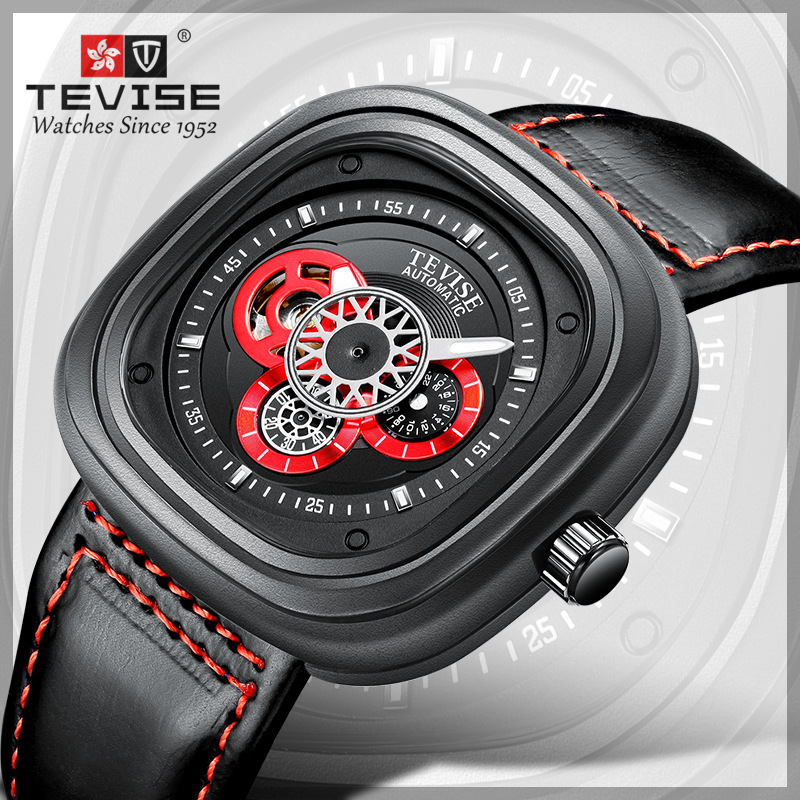 TEVISE Fashion Men s Square Automatic Watch Waterproof Genuine Leather Skeleton Sport Watch Top Brand Mechanical