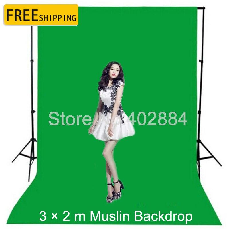 3x2 m Vert Écran Photographie Valentine Toile de Fond Coton Muslin pour Photo Studio Chromakey Fond