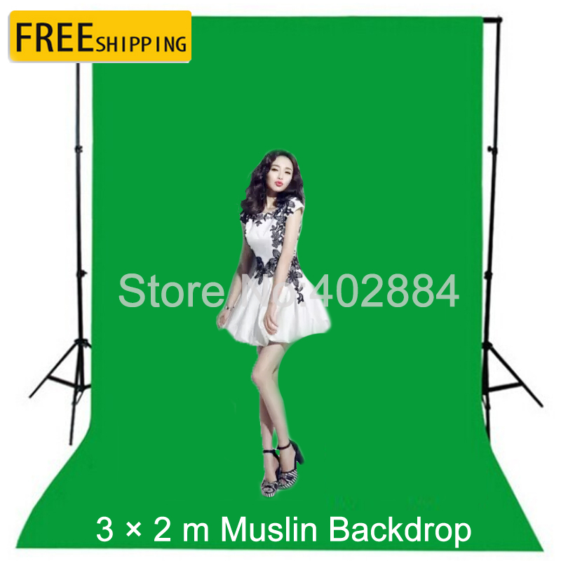 Free tax to Russia Photography background 3x2M Green screen cotton Muslin Photo backdrops lighting studio Chromakey