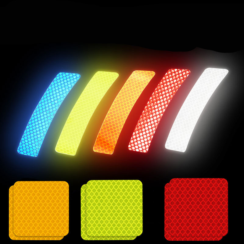 Car Stickers Universal Safety Warning Mark Reflective Tape Auto Exterior Motorcycle Bike Helmet Super Crystal Lattice Reflective
