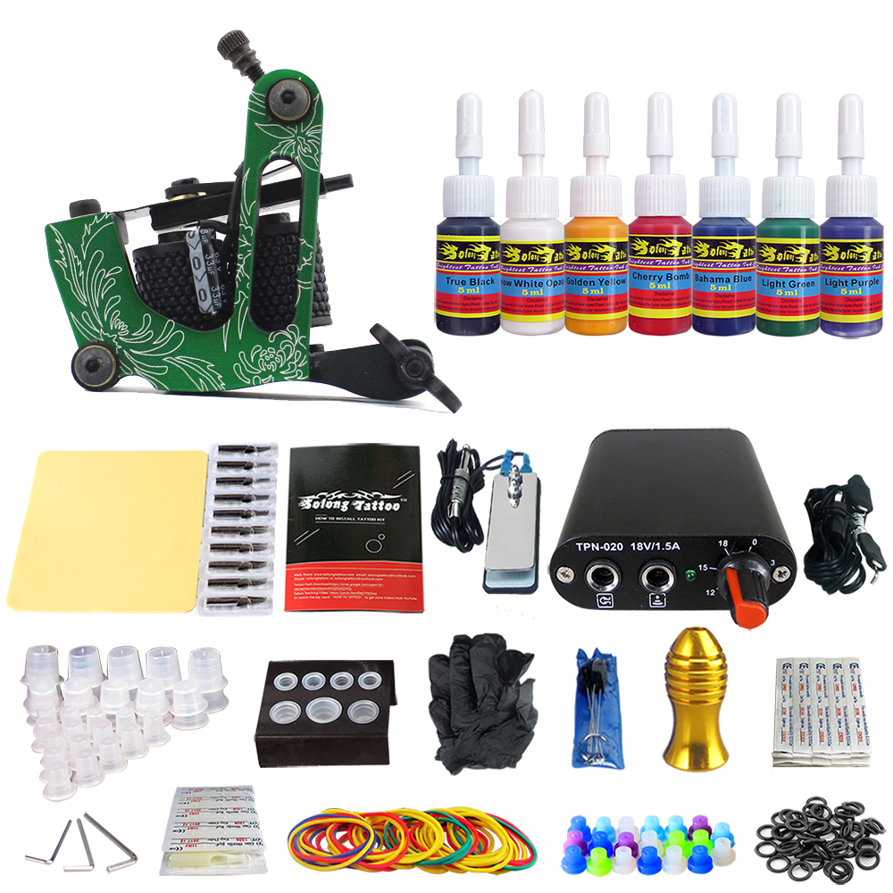Solong Tattoo Complete Beginner Tattoo Kit 1 machine Gun 7 Color Inks Power Supply Grips Foot Petal Needles Set TK105-29Solong Tattoo Complete Beginner Tattoo Kit 1 machine Gun 7 Color Inks Power Supply Grips Foot Petal Needles Set TK105-29