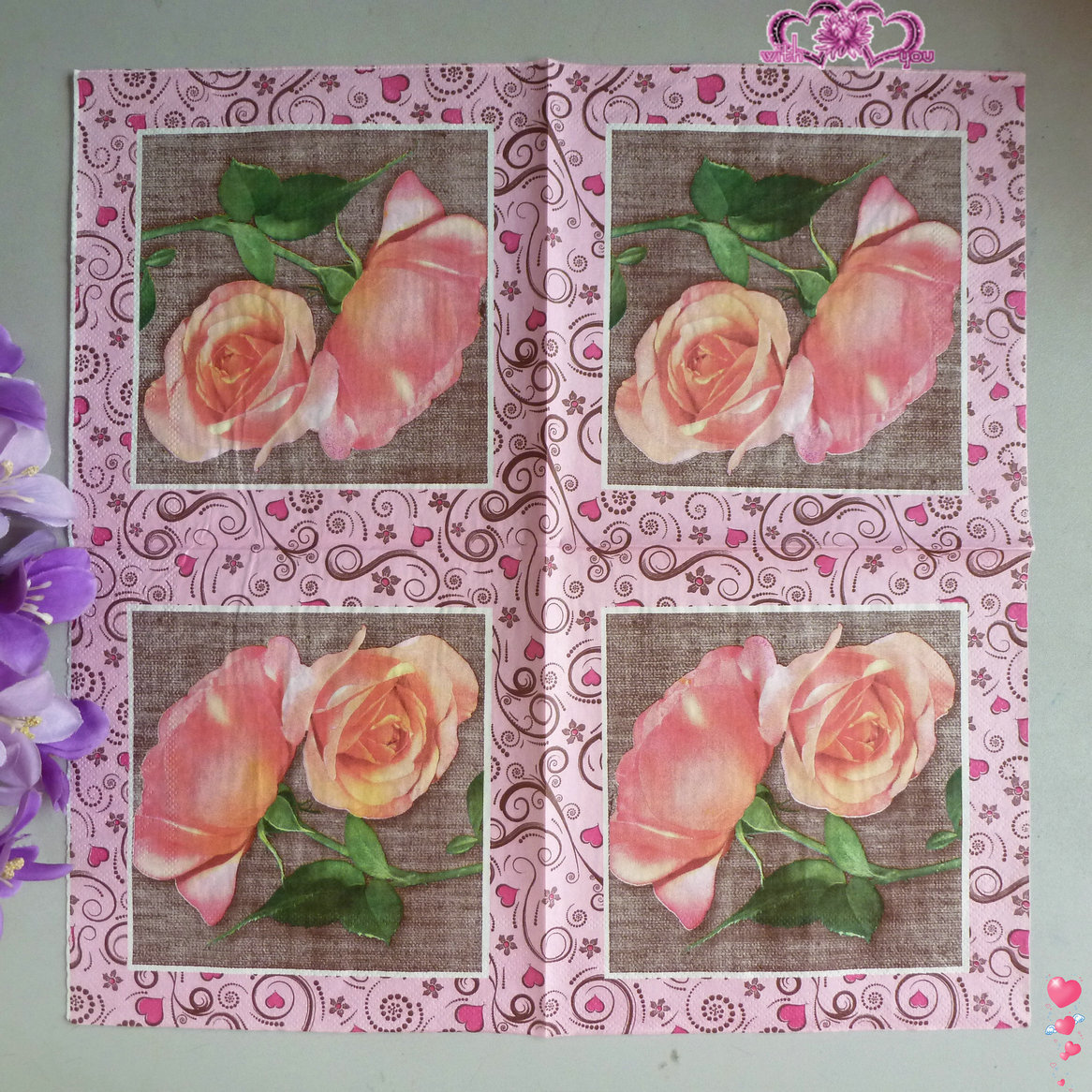 Lunch Paper Napkins 20pcs 33*33cm 3 ply pink rose printed paper ...