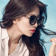 Fashion Korean version of Xiuzhi Sunglasses dazzling Ladies Large Frame personality retro round frame sunglasses