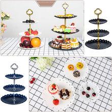 3 яруса кружевных Пластик тарелка для фруктов, пирожных стенд День рождения Декор днем Чай Свадебные тарелки столовая посуда Десерт стойка для хранения овощей