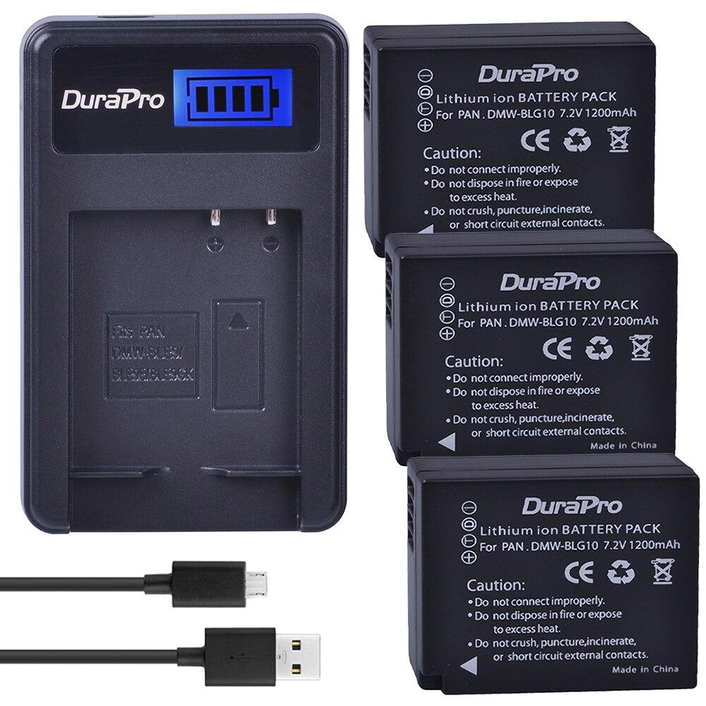 3 pz W-BLG10 DMWBLG10 DMW BLG10 Ricaricabile Li-Ion Battery + USB LCD Caricabatterie Per Panasonic DMC GF6 GX7 GF3 GF5 DMW-BLG10GK LX100