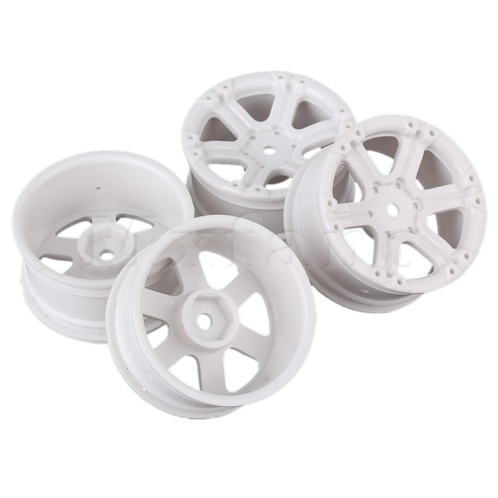 Mxfans 4pcs White Plastic 6-Spoke RC 1:10 Wheel Rims for Model On-road Racing Car 1 10 rubber on road racing car model replacement tire black 4 pcs