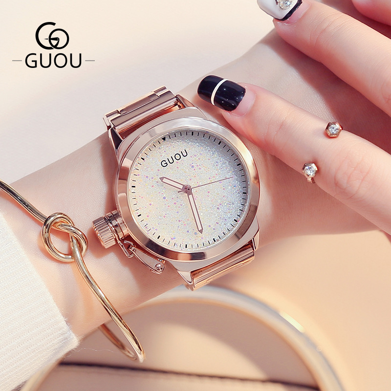 GUOU Brand Rose Gold Bling Full Stainless Steel Quartz Bracelet Wrist Watch Wristwatches No Fade Japan Movt OP001 цена и фото