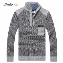 Covrlge Warm Thick Velvet Cashmere Sweaters Men Winter Pullovers Zipper Mandarin Collar Man Casual