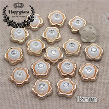 50PCS 12mm Shiny Rhinestone Golden Flower Shape Plastic Flatback Button Home Garden Crafts Cabochon DIY Scrapbook Accessories(China)