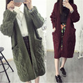 2017 plus size clothing mm twisted thickening medium-long 200 cardigan outerwear