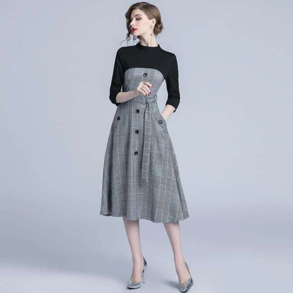 Rétro Bureau Élégantes Plaid Femme Moulante Vintage Lm26 Robe Automne Midi Femmes Robes 2019 xHYTOSwqw6