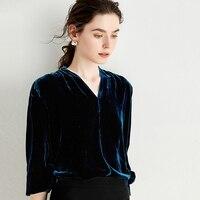 Велюровая блузка женская шелковая смешанная ткань плечо плиссированная v образный вырез с длинными рукавами 2 цвета официальные топы элега