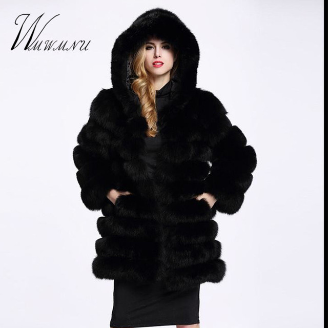 Elegant Faux Fox Fur Coat Women Winter casual Warm Luxury Fake Fur coat 2018 Fashion fluffy Coats Female Hooded Jacket Overcoat 2