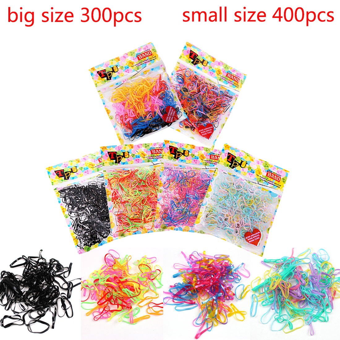 300-400pcs/lot Candy Color Elastic Hair Bands Headwear Hair Ring Ropes Ponytail Holder One-off for Girls Hair Accessories 50pcs korean candy color headwear hair ring ropes ponytail holder disposable elastic hair bands for girls hair accessories