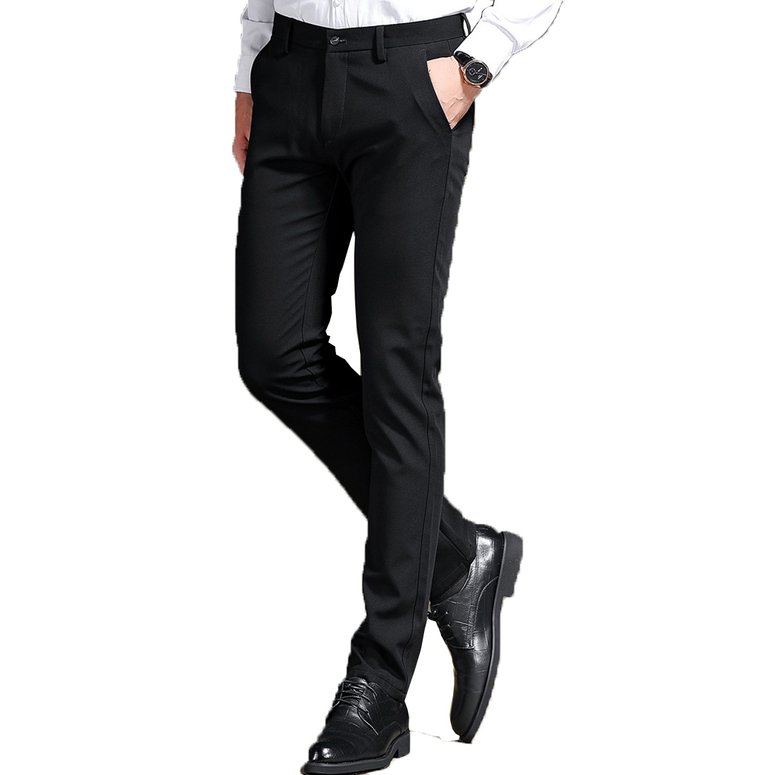 Men Business Smart Casual Pants Straight-leg Suit Long Pants Tailored Trousers Slim Fit Stretch Pants Plus Size Worker Luxury