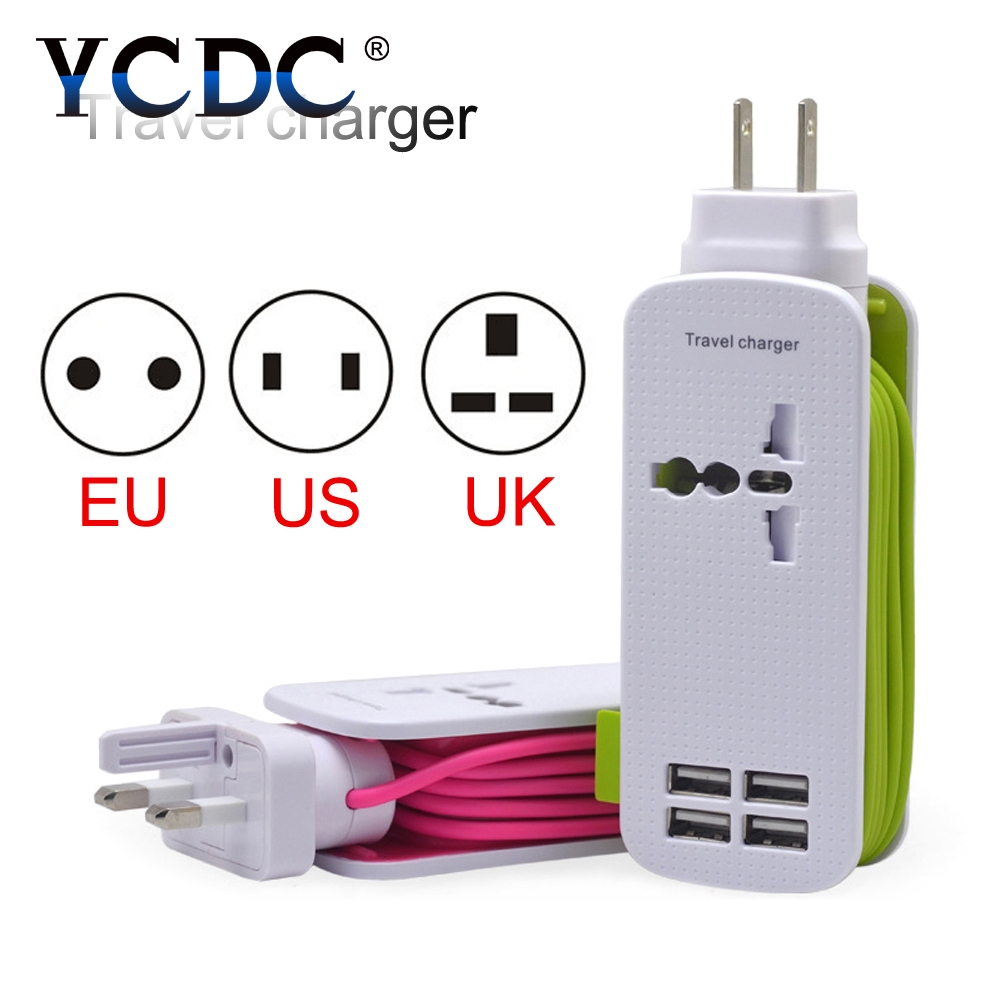 цена на YCDC Quality For Smartphone Wall Socket Charger Power Strip 4.3ft Power Cord 4 USB Ports One Outlet Travel Home US EU UK Plug