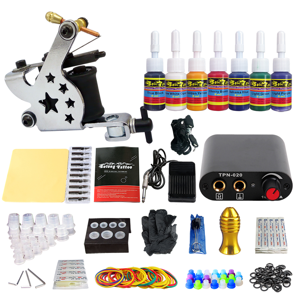 Stigma 2018 New Style Tattoo Kit Complete 1 Coil Tattoo Machine Power Supply Needle Grips tip 7 color ink set TK105-44Stigma 2018 New Style Tattoo Kit Complete 1 Coil Tattoo Machine Power Supply Needle Grips tip 7 color ink set TK105-44