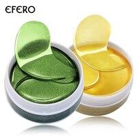 EFERO Золотая коллагеновая маска для глаз против морщин глаза сумки темные круги пухлые глаза патч зеленый гель нашивки в виде глаз уход за лицом колодки 120 шт.