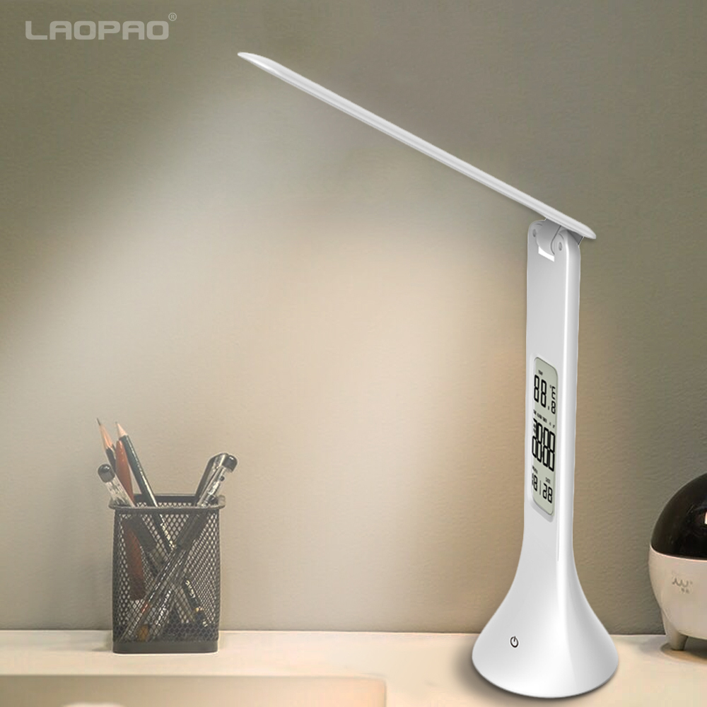 LED Desk Lamp Foldable Dimmable Touch Table Lamp with Calendar Temperature Alarm Clock table Light night lights LAOPAO led student desk lamp 3 stage dimmable with touch switch brush pot design foldable and adjustable table lamp arm design