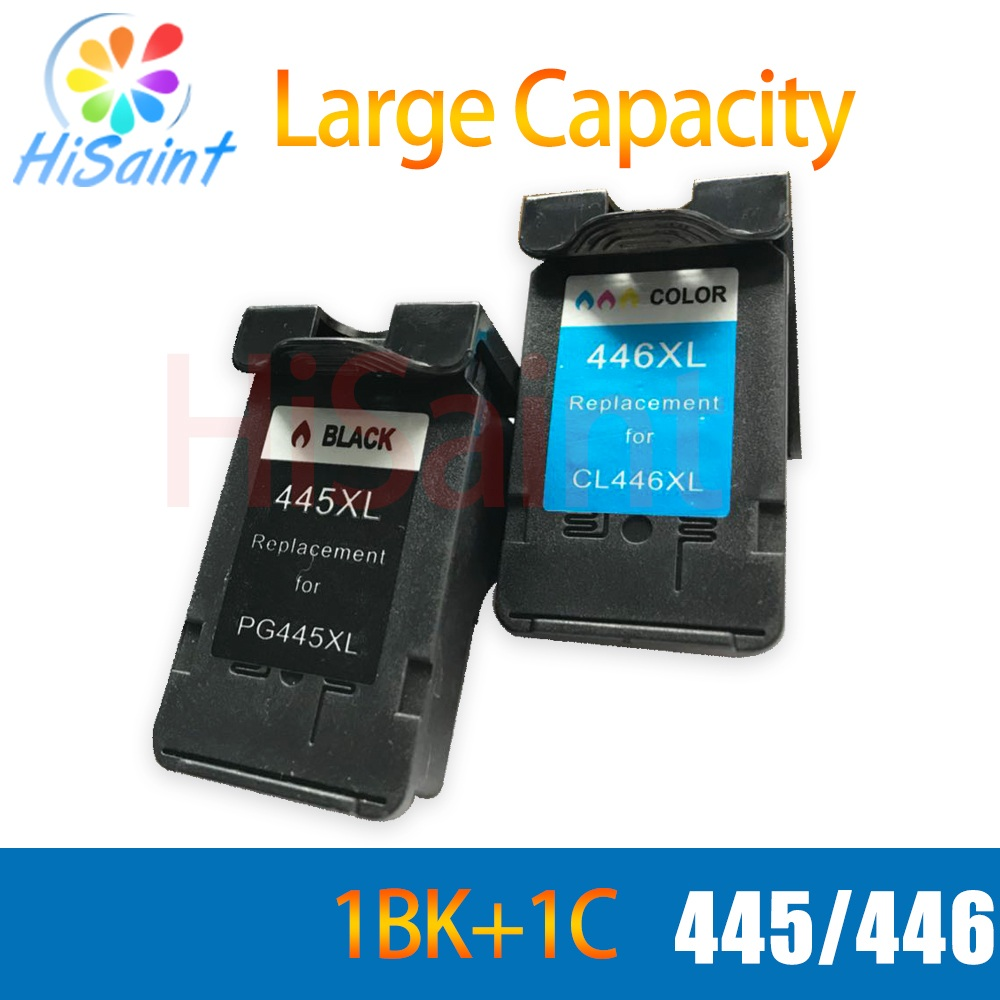 hisaint 1 set for canon 445 446 PG 445 CL 446 printer ink cartridge for pixma ip2810 mg2410 mg2510 inkjet printer free shipping low price 5pk compatibles tri color ink cartridge new version for canon cl 741xl cl741xl mx517 mx437 mx377 mg4170 inkjet printer page 1