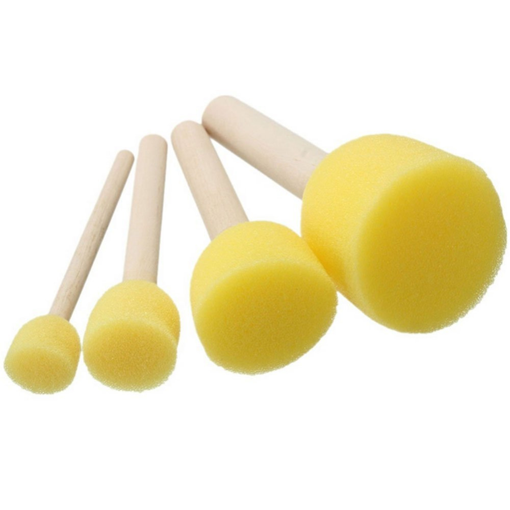 4pcs/Set Yellow Sponge Paint Brush Wooden Handle Painting Tool Graffiti Kids Diy Doodle Drawing Brushes Coloring for Children|Art Sets|Education & Office Supplies - title=