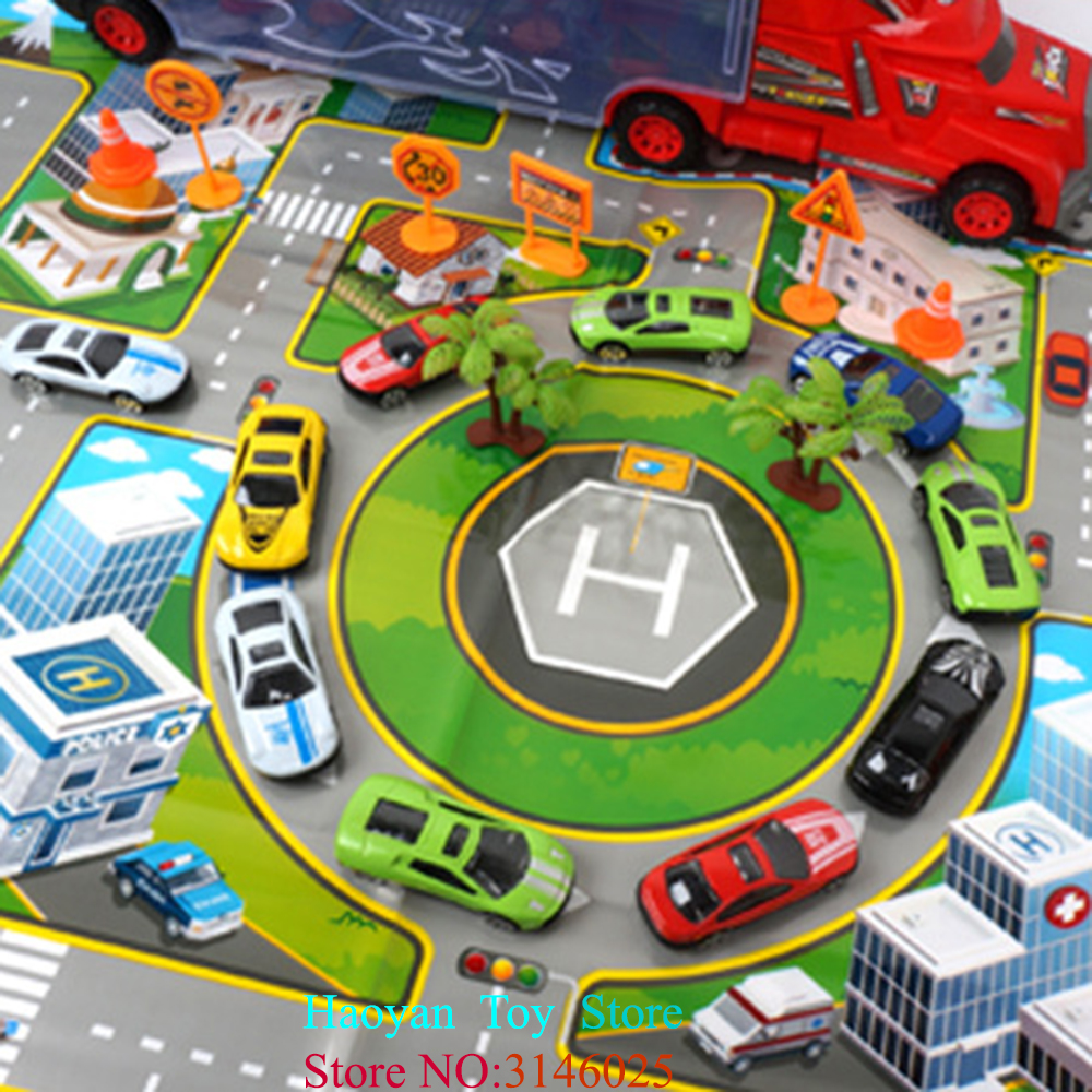 Traffic Parking Train Track Car Model Best Gift Set Traffic Scene Simulation Toy Truck With City Map Car Toys For Boys Kids