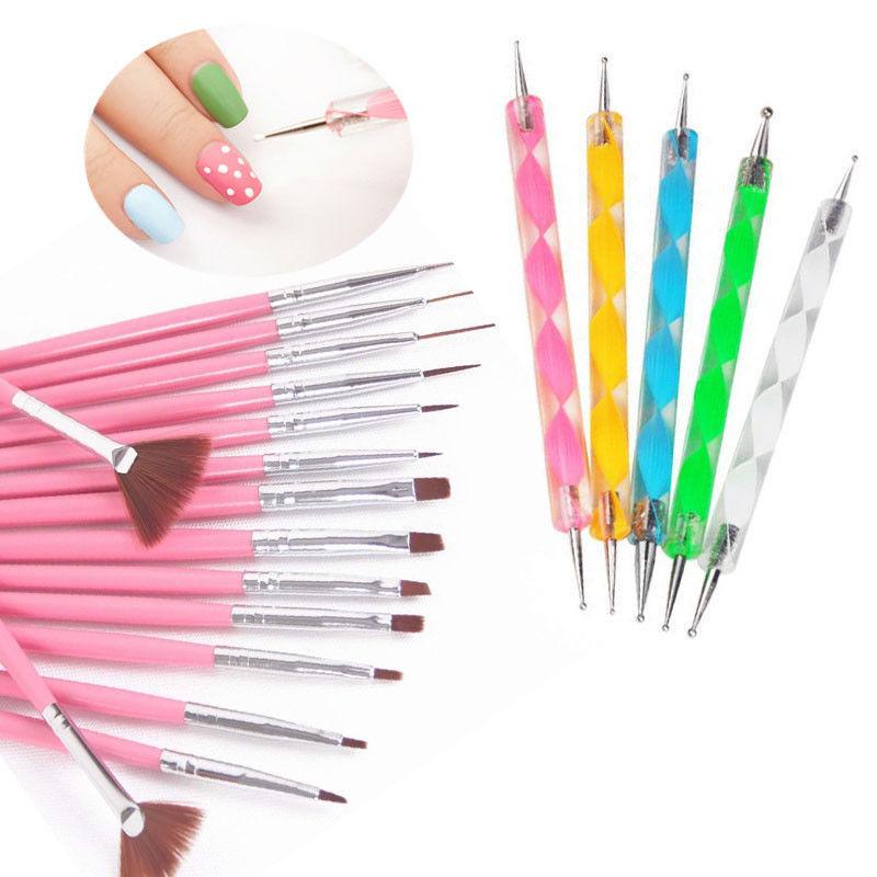Fashion 20pcs Nail Brush Art Design Painting Dotting Detailing Pen Brushes Bundle Tool Kit Set Styling Tools In From Beauty Health