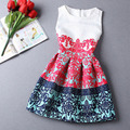 Vermelho / azul de verão / primavera meninas Formal Vestidos adolescentes de impressão sem mangas vestido de traje de natal crianças Vestidos Infantis