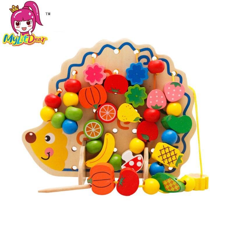 En bois Jouets Hérisson Fruits Threading Perles Enfant la Motricité Fine Développement Montessori Éducatifs Bloc Jeu Cadeau Pour Enfants