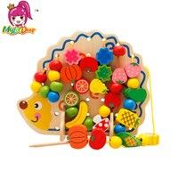 Giocattoli di legno Hedgehog Frutta Threading Perline Bambino Abilità Motorie Sviluppo Educativo Montessori Block Gioco Regalo Per I Bambini
