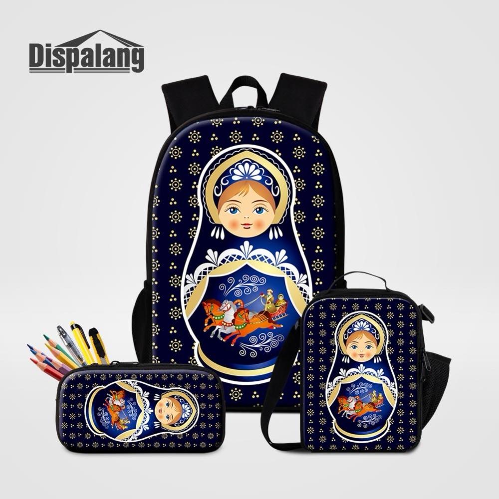3 pièces ensemble sac à dos sac à lunch sac à crayons pour étudiants russie Matryona Matryoshka poupée impression sac d'école femmes sac à dos fille sac à dos