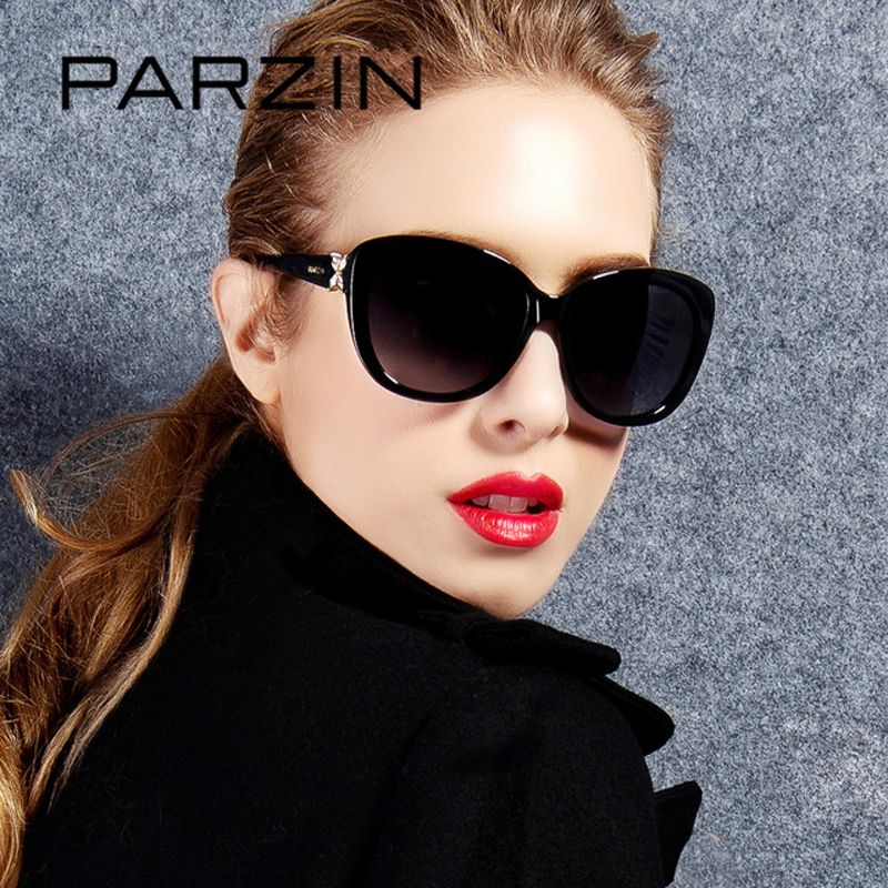 PARZIN Brand Real Polarized Glasses Cat Eye Women's Sunglasses For Driving Big Frame High Quality Sunglasses With Case 9612-in Women's Sunglasses from Apparel Accessories