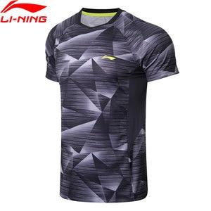 Image 1 - Li Ning, мужские футболки для бадминтона, дышащие, комфортные, для фитнеса, соревнований, верхняя подкладка, спортивные футболки, футболка, AAYN259 MTS2845