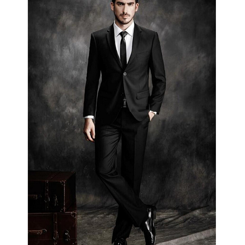 Trajes de hombre de alta calidad slim fit traje de negocios negro clásico  carrera ropa novio formal (chaqueta + Pantalones + corbata) en Trajes de La  ropa ... bdff8cf94627
