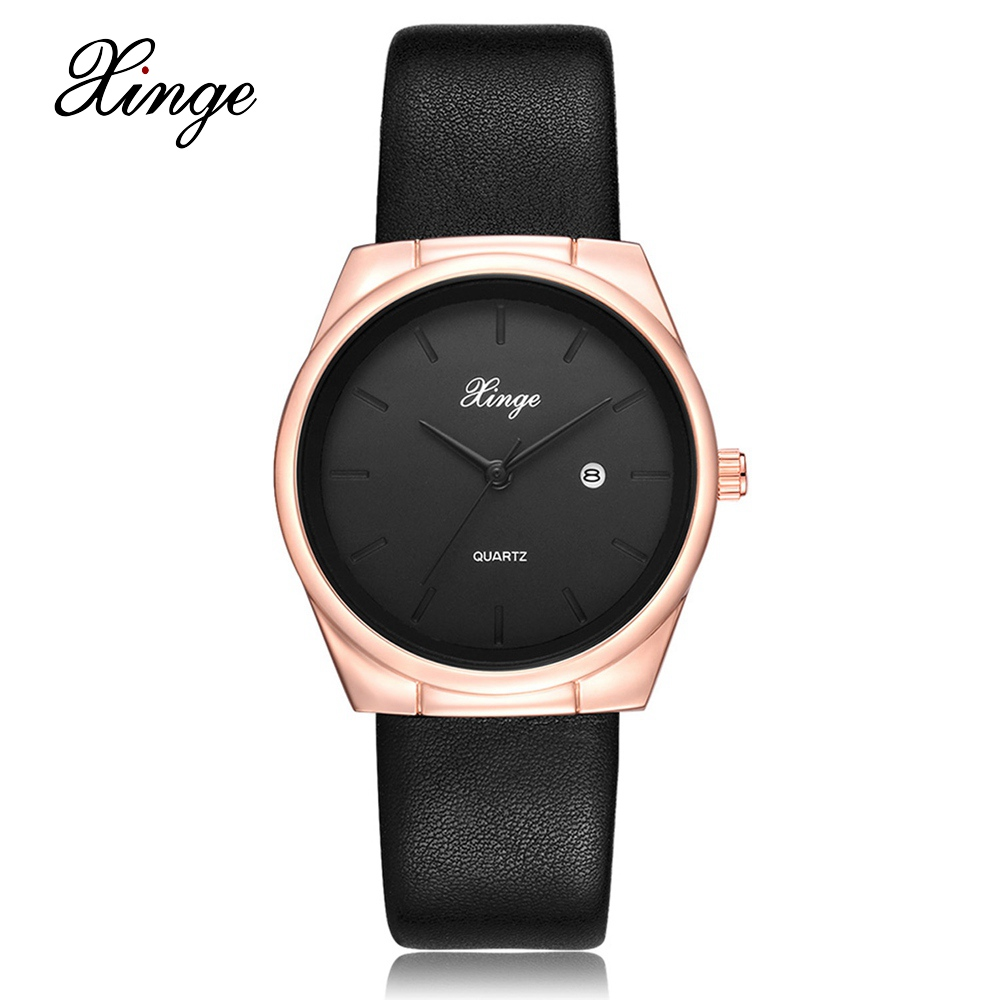 Xinge Brand Fashion Rose Gold Women Watches Leather Business Calendar Quartz Wristwatch Clock Female Sport Black Ladies Watches tshing ray fashion women rose gold mirror cat eye sunglasses ladies twin beams brand designer cateye sun glasses for female male