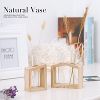 Home Decor Accessories Plant Wooden Glass Bottle Flower Pot Figurines Miniatures Water Planting Wooden Craft Furnishing