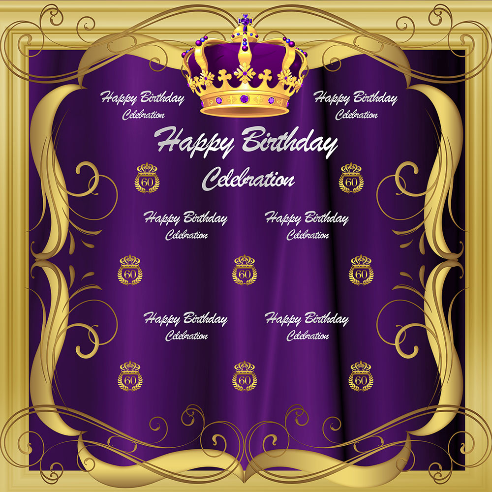 Royal Celebration 60th Birthday Backdrop Gold Crown Sixty Birthday Photography Background Purple Repeat Steps Birthday Backdrops in Background from Consumer Electronics